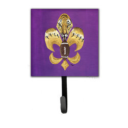 Caroline's Treasures - Tiger Football Fleur De Lis Leash Holder Or Key Hook 8205 - The Single Hook Leash Holder measures 4.25 inches wide by 7 inches high. The tile is made from a hardhoard and is mounted to a metal rectangle. The hook hangs down from the metal plate in the back and is about 2 1/2 inches from the base. The hook opens about 1 inch. A hanger is attached to the metal plate and is about 1 1/2 inches long. Lots of room to hang up using a screw or paneling nail. Great for the home or office to hold keys, leashes or just about anything.