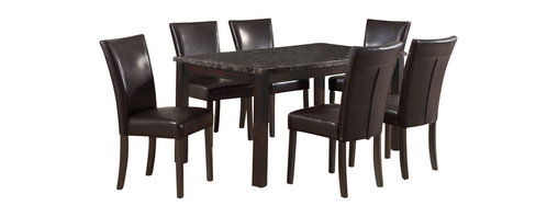 Monarch Specialties - Monarch Specialties 7-Piece 60 x 36 Dining Room Set in Dark Espresso - This rectangular table will be a lovely addition to any home, featuring a marble veneer top, with muted shades of cream, onyx and brown that provide a durable yet beautiful surface. Finished in a dark espresso, the clean lines and straight block legs of this table will help create a timeless look that you and your family will love. These stylish chairs compliment the look of the dining table with padded cushioning and a matching dark brown stain finish. The bonded leather-look seats and stitched details at the back of the chair are rich in sophistication and add to the appeal and character of the dining set. What's included: Table (1), Side Chair (6).