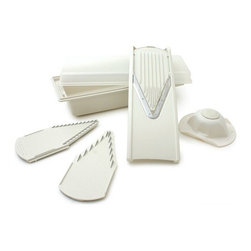 Swissmar - Swissmar -  V-Prep Mandoline Slicer - Swissmar - V-Prep Mandoline Slicer - V-5000   Slice & Serve. Slice & Transport. Slice & Store. This ABS plastic mandoline, bowl, and 3 inserts set features German-made stainless steel blades. Everything stores safely, easily, and conveniently in the multi-function bowl w/lid and non-skid feet. Includes 7mm and 3.5mm blade inserts that julienne, shred, and create fantastic French fries. The thick/thin slicing insert gives 2 thickness choices. The food safety holder provides complete protection and control when slicing food.
