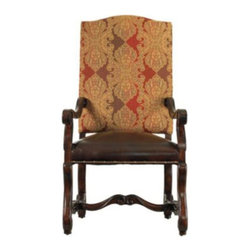 Stanley Furniture - Stanley Costa Del Sol Perdonato Arm Chair Cordova 971-11-75 Multicolor - 971-11- - Shop for Dining Chairs from Hayneedle.com! The Stanley Costa Del Sol Perdonato Arm Chair Cordova 971-11-75 may become the favorite seat in the house. The intricate tapestry upholstered back and aniline-dyed leather seat are detailed with nailhead trim for a timeless look. The ornate hand-tipped hickory legs feature a delicate carved stretcher detail. Make everyone feel like the guest of honor at your table with the Perdonato chair.The Costa Del Sol CollectionFrom Portugal's white-washed beaches to Greece's sparkling azure waters the Costa del Sol collection blends traditional styles from Europe's southern sea coast with alluring Spanish scrolling and decadent carefree charm of a Tuscan country house. Old-World wood grain is brought to vivid life with rustic mid-tone finishes or hand-rubbed dark coffee colors buffed to a soft satin glow. Authentic distressing techniques like burnishing cow-tailing and axe marks enhance the well-loved heirloom appearance of each item in this matching collection.Stanley Furniture Craftsmanship Stanley Furniture's main objective is to produce quality and stylish furniture by using the best wood materials construction procedures and elegant finishes on their products to help you fashion your home decor the way you imagined. All of their furniture is hand-crafted from quality woods incorporating other superior materials such as aluminum glass plastic leather and marble. Every joint is carefully constructed (keeping wood's sensitivity to heat and humidity in mind) allowing for expansion and contraction. All joints are held together with glue and nail. Stanley's 30-step finishing process starts with an undertone stain that is applied to a hand-sanded piece. Next the stain is sealed with a wash coat then hand sanded again with filler applied to pack the wood pores and smooth out the surface. A sealer coat is then applied the piece is hand s