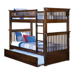 Colorado Twin over Twin Bunk Bed with Trundle in Antique Walnut - This bunk bed is designed for those who love and appreciate beautiful, high quality and multi-functional furniture. This bed is made in a transitional style and color antique walnut. This bed-equipped, trundle with carved panels. It will be a beautiful and functional addition to the children's bedroom. This bed has a one inch hardwood long rails, rock solid Eco-friendly Hardwood 2x4 posts and built in modesty panel. Thanks to high quality materials and technology, this bed will last you many years.