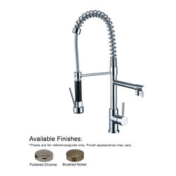 Whitehaus Collection - Whitehaus WH2070028-PC Polished Chrome Commercial Kitchen Faucet With Spray - Jem Collection commercial single hole faucet with two separate control levers for spout and spray head