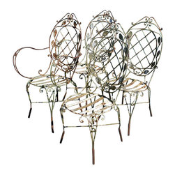 Wrought Iron Patio Chairs - Beautiful Vintage wrought set of Chairs - would be great in your outdoor patio and wwill give such charm. (2) arm chairs and (2) side chairs
