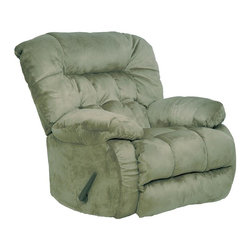 Catnapper - Teddy Bear Chaise Rocker Recliner - Hugs you as you recline. Comfortable plush arms. Pillow soft chaise pad seat. Durable steel seat box. Unitized steel base. The strongest, most durable base in the recliner industry. Resists bending or wear. Reclining Mechanism:. Installed with noiseless sure-lock spring clips. Strongest recliner seat box available. No warping or splitting in this critical area (standard on most models). Direct drive cross bar ensures that both sides of the mechanism operate together, in sequence, for longer life. Heavy 8-gauge sinuous steel springs in the seat provide strength, comfort and flexibility. Made of 100% polyester suede with padded foam back. Cleaning Method:. Clean only with water-based shampoo or foam upholstery cleaner. Do not over wet. Do not use solvent. Do not saturate with liquid. Pile fabrics may require brushing to restore appearance. Cushion covers should not be removed and laundered. Pictured in Sage. No assembly required. Limited lifetime warranty. 40 in. L x 42 in. W x 43 in. H (115 lbs.)