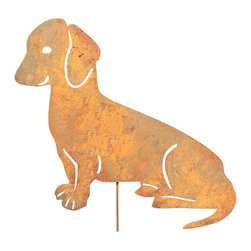 Rustica Ornamentals - Dachshund Garden Stake or Wall Hanging - This handcrafted Dachshund will be a charming and fun piece to add to any home or garden decor.