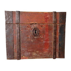 Pre-owned Antique Swedish Box Circa 1800s - Beautiful antique storage box from Sweden c. mid 1800's. Original exterior paint and iron strapping. Lock no longer functions but comes with the original key. Excellent condition considering it's age!