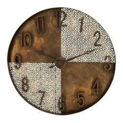 Benzara - Artistic Wall Clock with Light and Dark Quarters - Artistic Wall Clock with Light and Dark Quarters. An artistic wall clock takes your beloved timepiece and adds a flavor of art to your decor. An ideal wall clock for the home office or the master bedroom, this is a great example of form and function.