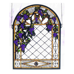 Meyda - 16 Inch W X 22 Inch H Grape Diamond Trellis Window Windows - Color Theme: Zasdy Purple 59 Ha