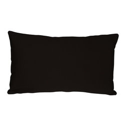 Pillow Decor - Pillow Decor - Caravan Cotton Black 12 x 19 Throw Pillow - Bold and beautiful, the Caravan Cotton 12 x 20 Throw Pillows are the ideal pillows for adding a simple splash of color to your decor. With 3% spandex added to improve durability and wash ability, this soft cotton pillow will provide long lasting comfort.