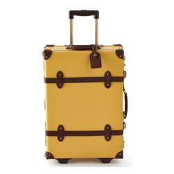 """Horchow - Yellow Correspondent Stowaway Case - Yellow Correspondent Stowaway CaseDetailsHandcrafted stowaway made of fiberboard.Leather straps.TSA-approved lock.Aluminum extendible trolley handle.Detachable wash bag.Approximately 15.75""""W x 7.75""""D x 23""""T.Imported."""