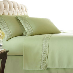 Southshore Fine Linens, Inc. - Aspen Lace - Sheet Sets - 4 PC, Sage Green, Queen - Made with high strength microfiber yarns these shrinkage-free sheets are decorated with a beautiful lace. Double brushed for extra softness, these sheets feature a 110 GSM microfiber fabric to ensure a cozy feeling.