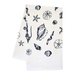 "artgoodies - Organic Shell Tea Towel - This high quality 100% certified organic cotton tea towel was custom made just for artgoodies! Hand printed with my with original shell drawings it measures 20""x28"" and comes wrapped in a green ribbon made from 100% recycled plastic bottles! Nice and absorbent for drying dishes, looks great when company is over, and makes a great housewarming gift!"
