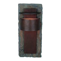 "Kenroy Home - Kenroy Home 70285 Asian Themed Outdoor Wall Sconce from the Pembrooke Collection - Pembrooke 1 Light Outdoor Wall LanternFeatures Natural Slate BackplateExtends: 5""1 75w T4 Halogen Mini-Can (Included)"