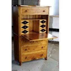 European Tall Desk with Marquetry Design - Made by http://www.ecustomfinishes.com