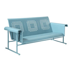 Crosley Furniture - Veranda Sofa Glider in Caribbean Blue - Sturdy Steel Construction. Easy To Assemble. UV Resistant. Smooth glide rocking mechanism. Indoor/Outdoor Construction. Seat: 20 in. D. 31 in. W x 72 in. D x 33 in. H (108 lbs.)