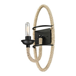 Elk Lighting - ELK Lighting  Pearce 1-Light Wall Sconce - This collection showcases natural rope wrapped around a durable metal frame. The Matte Black finished frame is a perfect contrast to the textures of the organic fibers. This series can be ordered with or without glass to best compliment your design scheme