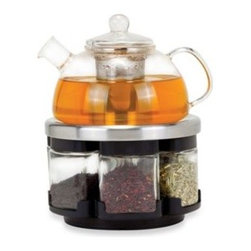 Longden Enterprises, Inc. - Orii Glass Tea Rack Set with 6 Tea Leaf Filled Canisters - Perfect for the tea aficionado, this set has everything you need to experience the fresh, pure and complex flavors of loose leaf tea. Includes a glass teapot, retracting kettle tray/rack, and six glass tea canisters filled with 6 kinds of loose tea.