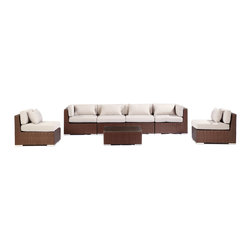 """Kardiel - Modify-It Patio Furniture Modern Outdoor Sofa Sectional Waikiki 7pc Wicker, Grey - Unapologetic modern seating for six is offered by the Waikiki 7-piece collection. The centerpiece is clearly the Grande' length modern 4 seat sofa. Masterfully accommodates multiple guests. Extend the limits of personal lounging time, just you and a good tablet. 2 armless chairs and tempered glass top coffee table complete the collection. The flexible nature of Modify-It modular allows for customized reconfiguring of the layout at will. The design origins are Clean European. The elements of comfort are inspired by the relaxed style of the Hawaiian Islands. The Aloha series comes in many configurations, but all feature a minimalist frame and thick, ample modern cube cushions. The back cushions are consistent in shape, not tapered in to create the lean back angle. Rather the frame itself is specifically """"lean tapered"""" allowing for a full cushion, thus a more comfortable lounging experience. The cushion stitch style utilizes smooth and clean hand tailoring, without extruding edge piping. The generously proportioned frame is hand-woven of colorfast, PE Resin wicker. The fabric is Season-Smart 100% Outdoor Polyester and resists mildew, fading and staining. The ability to modify configurations may tempt you to move the pieces around... a lot. No worries, Modify-It is manufactured with a strong but lightweight, rust proof Aluminum frame for easy handling."""