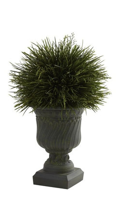 """Potted Grass with Decorative Urn (Indoor/Outdoor) - Say it loud and proud - We love grass!! Left to grow, grass is fluffy, light, and oh-so-lush. And that look has been perfectly captured in this lovely """"grass in an urn"""" piece that's ideal for any decor - even outdoors! The grass blades look fresh and crisp, and the decorative urn looks strong and stately. Together, they make the perfect accent piece, ideal for home or office. Height= 17 In. x Width= 11 In. x Depth= 11 In."""