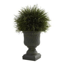 "Potted Grass with Decorative Urn (Indoor/Outdoor) - Say it loud and proud - We love grass!! Left to grow, grass is fluffy, light, and oh-so-lush. And that look has been perfectly captured in this lovely ""grass in an urn"" piece that's ideal for any decor - even outdoors! The grass blades look fresh and crisp, and the decorative urn looks strong and stately. Together, they make the perfect accent piece, ideal for home or office. Height= 17 In. x Width= 11 In. x Depth= 11 In."