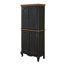 HomeStyles - Oak and Rubbed Black Pantry - The pantry is constructed of hardwood solids and engineered wood in a distressed oak and heavily rubbed black finish. The distressed oak features several distressing techniques such as worm holes, fly specking, and small indentations. Features include four cabinet doors with adjustable shelving and detailed brass hardware. Shelves are adjustable to accommodate over-sized cereal boxes. Assembly required. 30.25 in. W x 17 in. D x 71 in. H