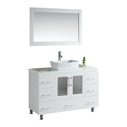"""Design Element - Design Element Stanton White Single Vessel Sink Vanity Set - 48"""" - The Stanton 48"""" Single Sink Vanity Set is constructed with solid wood and provides a contemporary design perfect for any bathroom remodel. The ample storage in this free-standing vanity set includes seven fully funtional drawers and a single double door cabinet each accented with brush nickel hardware. This cabinet is available in both an espresso and white finish as a complete set that includes a white stone counter top, white porcelain vessel sink and matching framed mirror."""