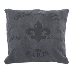 Benzara - Decorative Unique Fabric Pillow in Grey Color - Your interior decor just needs the right kind of fabric pillow that ensures a rich addition to your already extravagant interiors. With these fabric pillows your living room will get the much needed upgrade. The pillow bolsters are made of 100% cotton fabric with high thread count, which makes it durable and easy to maintain. Sporting a unique print of vintage Hotel De LYS of 1898 Paris, this fabric pillow is sleek and stylish. This grey colored pillow will lend a new and rich appeal to your living space..