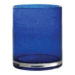 """Tag Everyday - Bubble Glass Double Old Fashioned - Set of 6 - Handmade. Straight-sided design. 15oz capacity. Dishwasher safe. 4""""h x 3.5"""" diameter Color: Cobalt. 4 in. H x 3.5 in. dia (15 oz. capacity)"""