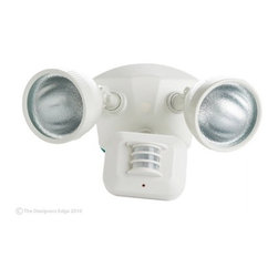 Designers Edge Lighting - Motion Activated Flood Light with Two Lights - L-975-WH - This motion-activated flood light features heavy duty die-cast construction with adjustable time and sensitivity settings. It switches from motion to dusk to dawn modes to best suit your needs. The 180 degree motion sensor is sealed for protection from harsh weather conditions. The motion sensor can be adjusted to detect movement very close up or as far away as 35 feet. This light has a limited 10-year warranty. Takes (2) 100-watt halogen T4 bulb(s). Bulb(s) included. UL listed. Wet location rated.