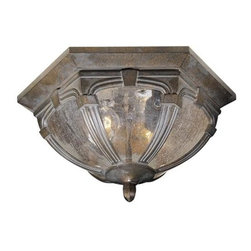 Vaxcel - Essex Royal Bronze 6.75 Inch Outdoor Ceiling Light - Dimensions: 13 in. W x 13 in. L x 6.75 in. H.
