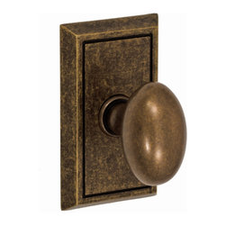 Fusion Hardware - Egg knob with shaker rose in medium bronze finish. There are so many choices and styles but this is a great one.
