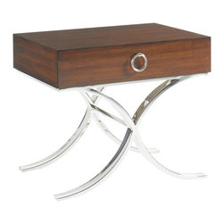 Lexington - Lexington Mirage Hayworth Lamp Table 458-956C - The graceful x-base in polished silver supports the one drawer wood top finished on all four sides which allows this table to float in the room. The fine jewelry inspired drawer pull adds a touch of elegance.