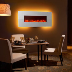 Simplifire - Simplifire Modern 58 in. Linear Wall Mount Electric Fireplace - White - SF-WM58- - Shop for Fire Places Wood Stoves and Hardware from Hayneedle.com! Add a modern look to any space with the Simplifire Modern 58 in. Linear Wall Mount Electric Fireplace White. Sleek and contemporary this fireplace offers visual appeal and comforting warmth to your room. It features a crisp white housing with a flickering flame that can be changed with 2 color options to suit your mood. Its LED illumination features 14 color choices. It warms your room with 4800 BTUs of heating power. Simple to install and affordable to use.About Hearth and Home Technologies Hearth and Home Technologies (HHT) headquartered in Lakeville MN is a leading technology developer manufacturer and supplier of fireplaces stoves and inserts. The company is a subsidiary of HNI Corporation (NYSE: HNI) and serves residential and commercial applications. HHT thrives on continual innovation and works to incorporate the latest designs and technology. The company is also a manufacturer of hearth products including mantels surrounds and more. HHT carries the industry s best and most-recognized brands including: Heat & Glo Heatilator Quadra-Fire Harman Outdoor Lifestyles SimpliFire and PelPro. The company also manages Fireside Hearth & Home retail stores and builder design centers. More information can be found online at www.hearthnhome.com.