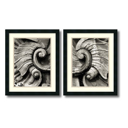 Amanti Art - Tang Ling 'Stone Carving- set of 2' Framed Art Print 18 x 22-inch Each - Photographer Tang Ling captures a stonework's intricately carved detail in this elegant pair of frame art prints.