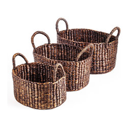 Oval with Handle Water Hyacinth Basket Set of 3 - Woven Accents Collection