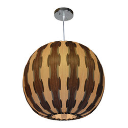 OAKLAMP - Wood Pendant Lamp (Ceiling Lighting), OP1001M-MP&WN - The first photo shows what the lamp looks like when illuminated. The second photo shows what the lamp looks like when turned off.