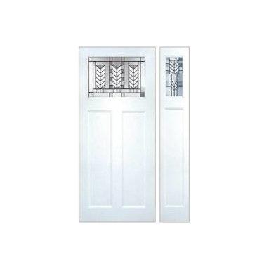 Smooth Skin Fiberglass Door Series - 3/0 x 6/8 Smooth Skin Series: Direct Glazed Craftsman w/ Spring Doorlite & Sidelite ---