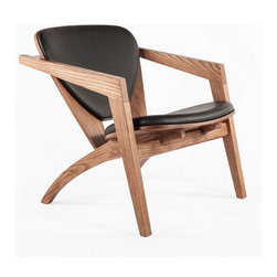 The Olle Solid Wood and Leather Lounge Chair - The Olle Solid Wood and Leather Lounge Chair