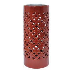 Threshold Ceramic Tabletop Lantern, Red - A solar-powered ceramic lantern is a nice accent for a patio party.