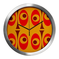 Crash Pad Designs - Mod Wall Clock,Mid Century Modern Wall Clock, Decorative Wall Clock, Mid Century - Our 14 inch mod wall clock, will make a big retro statement in your pad. This aluminum clock has a quartz movement, aluminum hands, and a glass cover. The face is your favorite Crash Pad Designs pattern.  * 1 AA battery included