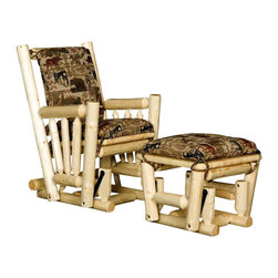 Viking Log Furniture - Log Glider Rocker w Ottoman Set - Includes rocker chair and ottoman. Cushions not included. Has 3 in. dia. logs that are joined together using mortise and tenon construction which are glued together for maximum strength. swing arms have ball bearings which will never wear out and provide years of smooth rocking. Made to order in the US. Lifetime warranty. Chair: 28 in. W x 36 in. D x 40 in. H. Ottoman: 20 in. W x 20 in. D x 16 in. H