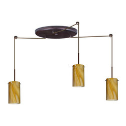 Besa Lighting - Besa Lighting 3BW-4404HN-HAL Stilo 3 Light Halogen Cord-Hung Mini Pendant - Stilo 7 is a classic open-ended cylinder of handcrafted glass, a shape that will stand the test of time. This unique decor is handcrafted, with layered swirls of yellow-amber and golden-brown against white, finished to a high gloss. It's classic swirl pattern and high gloss surface has a truly florid gleam. Honey is a hand-blown glass designed to have a shiny and polished finish. The glass is gathered and rolled into shape a unique pattern is formed that cannot be replicated. This blown glass is handcrafted by a skilled artisan, utilizing century-old techniques passed down from generation to generation. Each piece of this decor has its own unique artistic nature that can be individually appreciated. The cord pendant fixture is equipped with three (3) 10' SVT cordsets and a 3-light large round canopy, three (3) suspension stemhooks included.Features:
