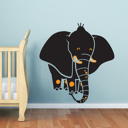 "Baby nursery elephant  wall decal - Elephant wall decal made to order in USA. Decal measures 43""H by 40""W"