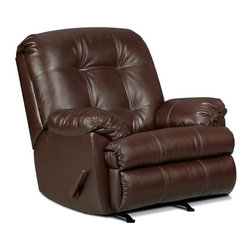 Simmons - Simmons Windsor Bonded Leather Oversized Rocker Recliner - 621- WALNUT - Shop for Recliners from Hayneedle.com! Luxurious leather and a large scale make the Simmons Windsor Bonded Leather Oversized Rocker Recliner just right for your home. This recliner features ultra-thick cushions and a tufted back. It rocks smoothly and features an easy pull-handle or power button to recline. This recliner is upholstered in bonded leather that comes in a variety of color options. About United Furniture IndustriesUnited Furniture Industries emerged in 2000 from a merger and acquisition of Comfort Furniture Parkhill Furniture and United Chair. Their mission was to create a company with the vision and resources needed to be an industry leader. By 2008 United Furniture Industries had done just that by receiving an exclusive licensing agreement with Simmons Upholstery a leading resource for microfiber and bonded leather upholstery fabric models. United Furniture Industries has production facilities around the United States. They offer an extensive affordable line of trend-setting furniture that includes microfiber bonded leather and upholstery fabric furniture sofas sectionals chaise lounges recliners motion sofas and Hide-A-Bed sleepers.