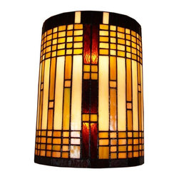 Amora Lighting - Amora Lighting AM1077WL10 Tiffany Style 2-Light Geometric Wall Sconce - With geometric patterns and understated warm colors this sconce is the epitome of mission style. This piece is handcrafted using the same techniques that were developed by Louis Comfort Tiffany in the early 1900s.