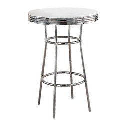 Coaster - Cleveland Soda Fountain Round Bar Table - The Chrome Finished Bar Table adds a note of retro cool to any room! The chrome finished table features a 30 inch diameter White top and Fifties-style ribbed metal edging. Complete this appealing set by adding a pair of optional barstools. Create a fun place to entertain in your home with this classic chrome pub table that will comfortably seat two. The black padded seats make the chrome really shine, which will make your home an attractive place to entertain. * Chrome rimmed top and legs. Single pedestal base. Made from metal. White and chrome color. 30 in. Dia. x 41.75 in. H. WarrantyRewind time and create an entertaining dining experience with the retro designs of this 50's soda fountain bar table.