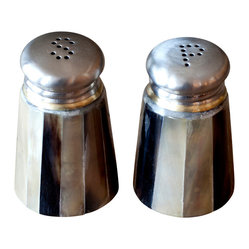 BoBo's Intriguing Objects - Horn Salt and Pepper Shakers - Your table's not complete without salt and pepper, and these handsome shakers clothed in natural horn chips are here to make sure you get your rustic flavor. Note the hole patterns in the top that tell you which is which.