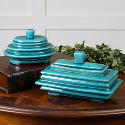 None - Indra Bright Blue Ceramic Boxes (Set of 2) - Made of ceramic with bright blue finishes,these boxes feature a layered look. Finished with a crackled design,these boxes feature lids.