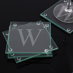 None - Custom Engraved Glass Coasters (Set of 4) - Modern and stylish, these personalized glass coasters have a classic appeal. They make the perfect gift for treating others or yourself! Feature clear protective pads attached to the bottom of each corner to guard surfaces from any damage.