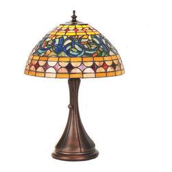 Meyda Tiffany - Meyda Tiffany 85648 Tiffany Single Light Up Lighting Table Lamp Tavern - *Single light up lighting table lamp featuring a tiffany glass shade